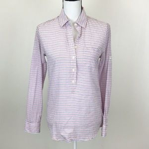 J. Crew Red White Blue Striped Popover Shirt